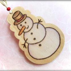 Wood Snowman - pyrographed with Love